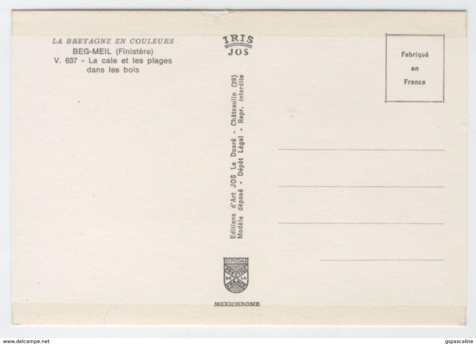 29 BEG MEIL - V.637 - Edts Jos - La Cale & Les Plages Dans Les Bois. - Beg Meil