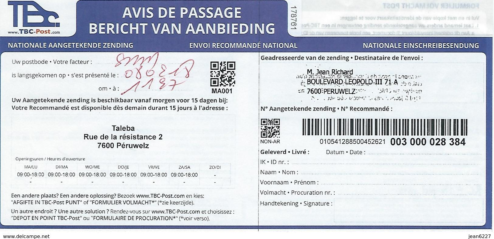Avis De Passage - Envoi Recommandé Par TBC (concurrent De Bpost) - Documents Of Postal Services