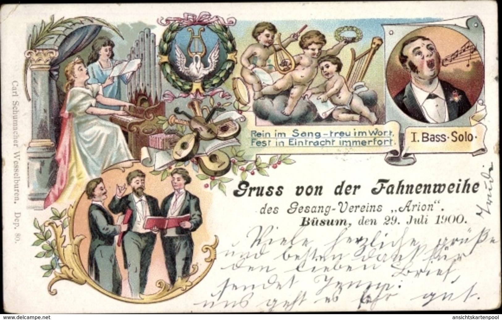 Lithographie Nordseebad Büsum, Fahnenweihe Des Gesangsvereins Arion 1900 - Allemagne