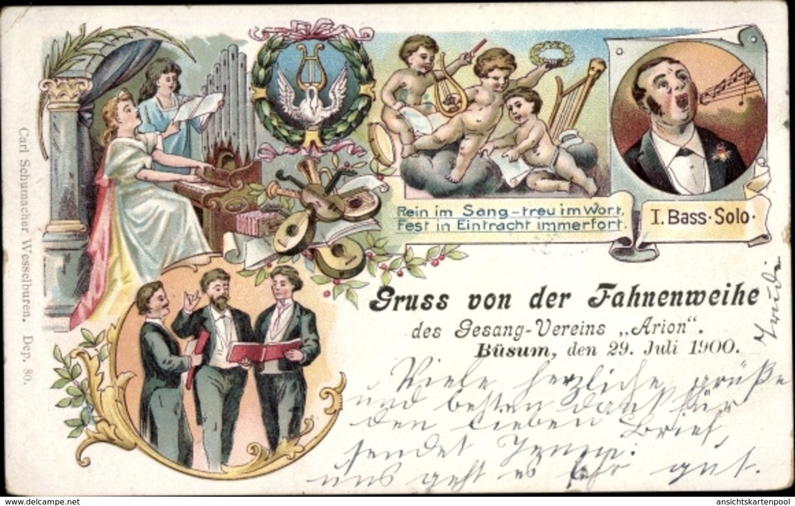 Lithographie Nordseebad Büsum, Fahnenweihe Des Gesangsvereins Arion 1900 - Autres