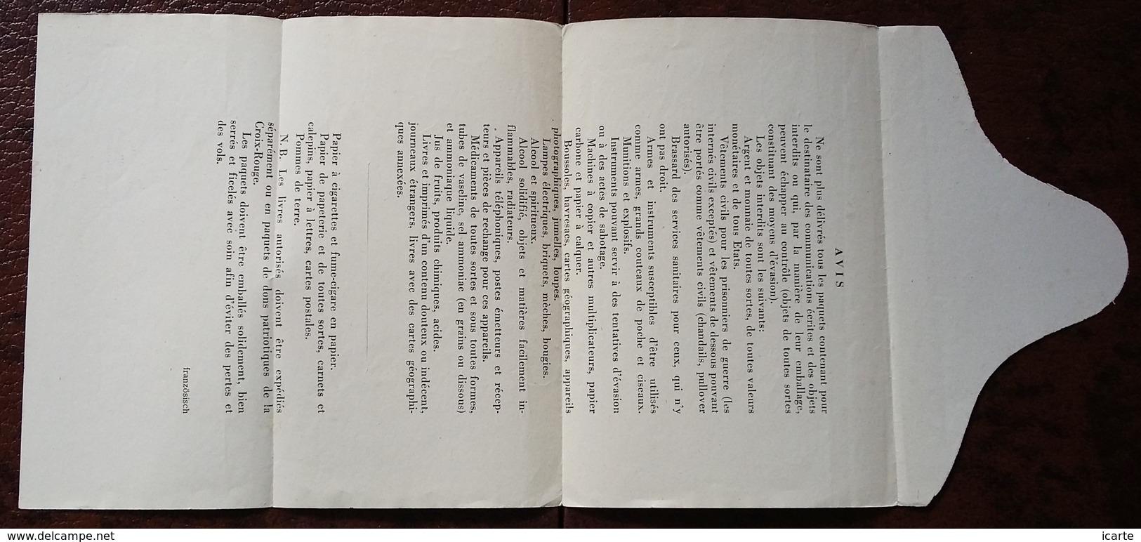 Formulaire AVIS OBJETS INTERDITS DANS LES COLIS Prisonnier De Guerre STALAG III C Drzewica POLOGNE > Cambrai Janv 1943 - Marcophilie (Lettres)