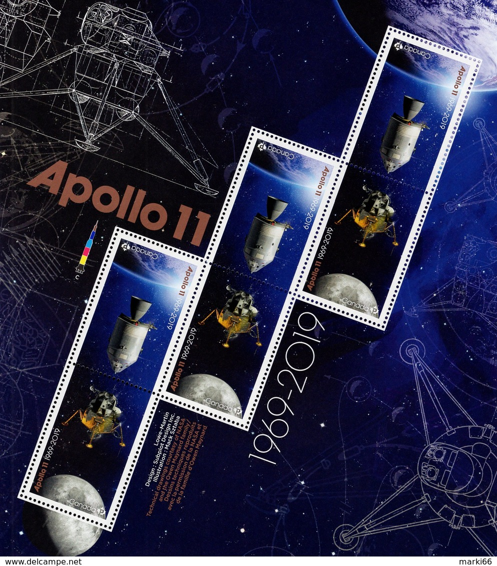 Canada - 2019 - Apollo 11 - 50th Anniversary Of First Lunar Landing - Mint Souvenir Sheet In Special Folder - 1952-.... Regno Di Elizabeth II