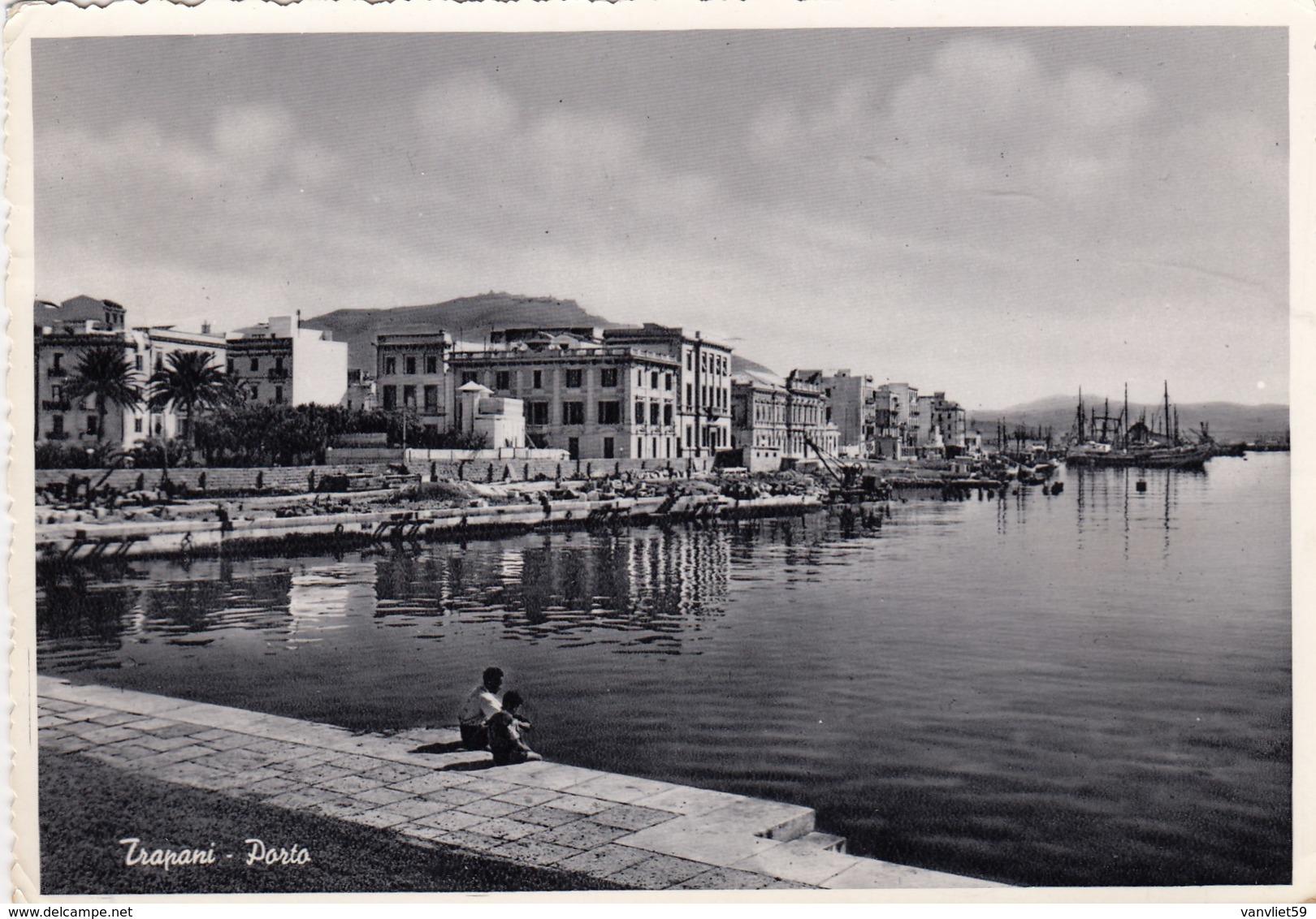 TRAPANI- PORTO-CARTOLINA VERA FOTOGRAFIA VIAGGIATA IL 15-7-1956 - Trapani
