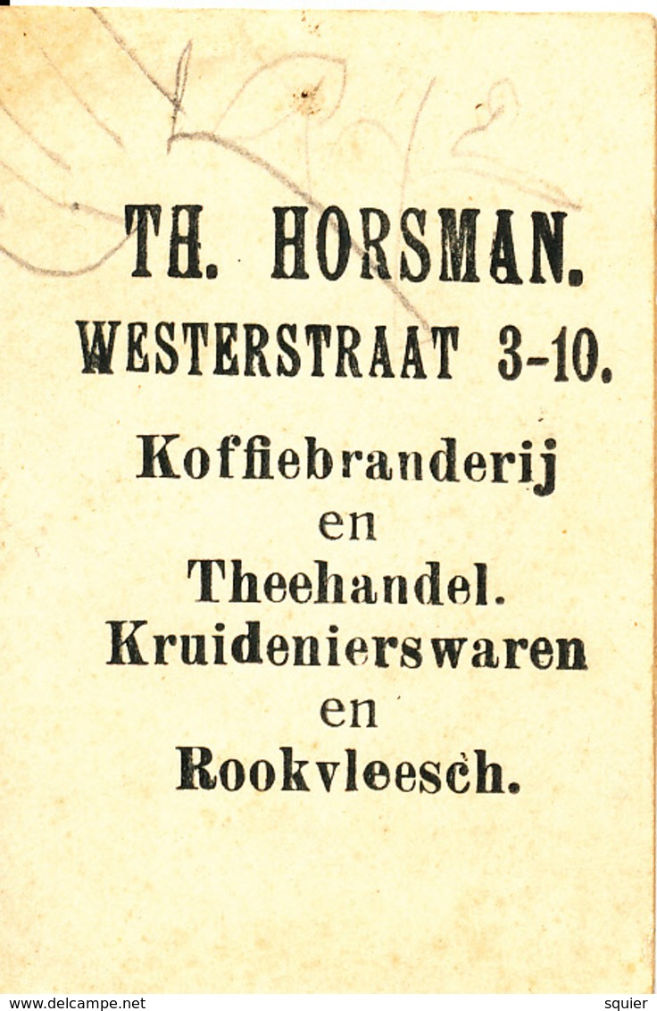 Early Advertisement Card, Girl With Handbag, Koffie, Rookvleesch, Th. Horsman, Westerstraat, Backside - Reclame