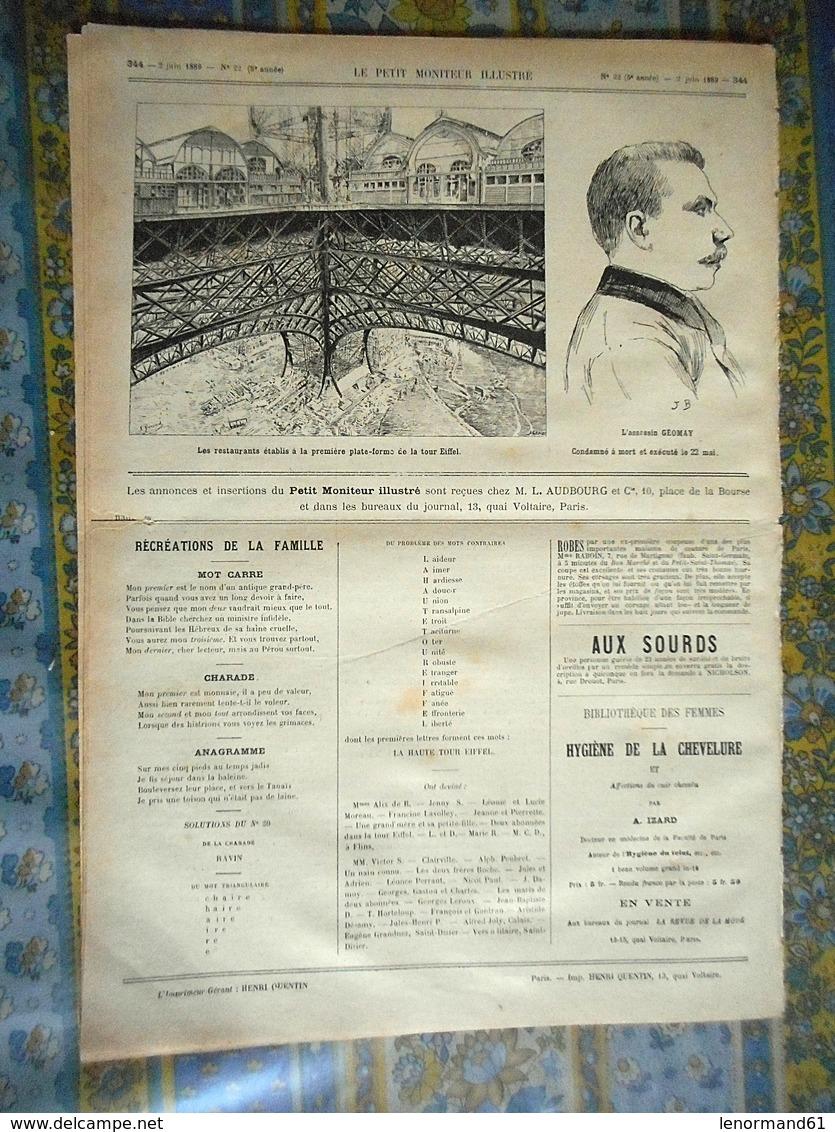 LE PETIT MONITEUR ILLUSTRE 02/06/1889 EXPOSITION UNIVERSELLE PARIS JULES COUTAN INVALIDES PONT IENA TOUR EIFFEL RESTAURA - Kranten