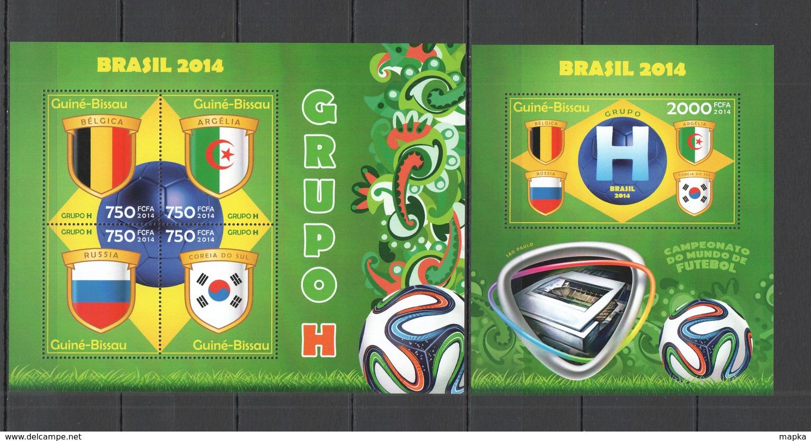 ST2923 2014 GUINE GUINEA-BISSAU SPORT FOOTBALL WORLD CUP BRAZIL GROUP H KB+BL MNH - 2014 – Brasilien