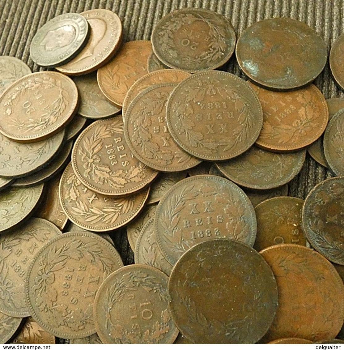 Lot 103 Coins Portuguese 10 And 20 Reis D. Luiz And D. Carlos - Kilowaar - Munten