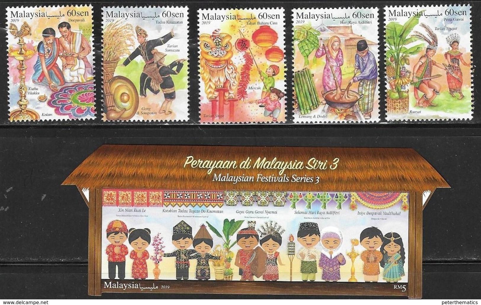 MALAYSIA, 2019, MNH, FESTIVALS, CULTURES, COSTUMES, FRUIT, GRAIN, LANTERNS, DRAGONS, 5v+GLITTER-COATED S/SHEET - Celebrations