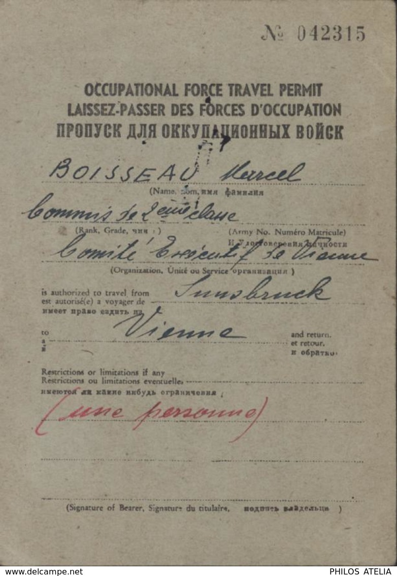 Laissez Passer Forces D'occupation 28 12 45 Ausweis Comité Executif Conseil Allié En Autriche Général Trilingue - Covers & Documents