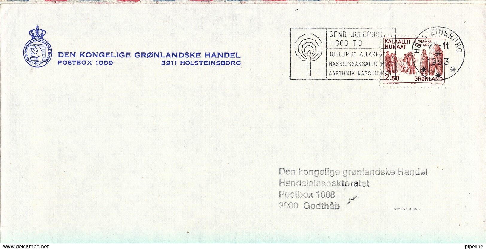 Greenland Cover Sent To Godthab Holsteinsborg 25-11-1983 Single Franked - Greenland