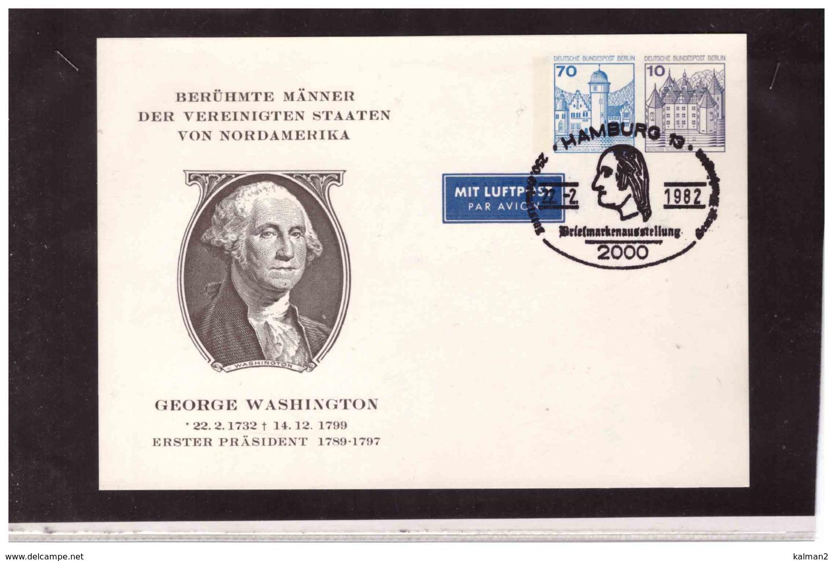 DE2461   -  HAMBURG  22.2.1982   /    ENTIRE  BERLIN FRANKED WITH 70+10  C. - George Washington
