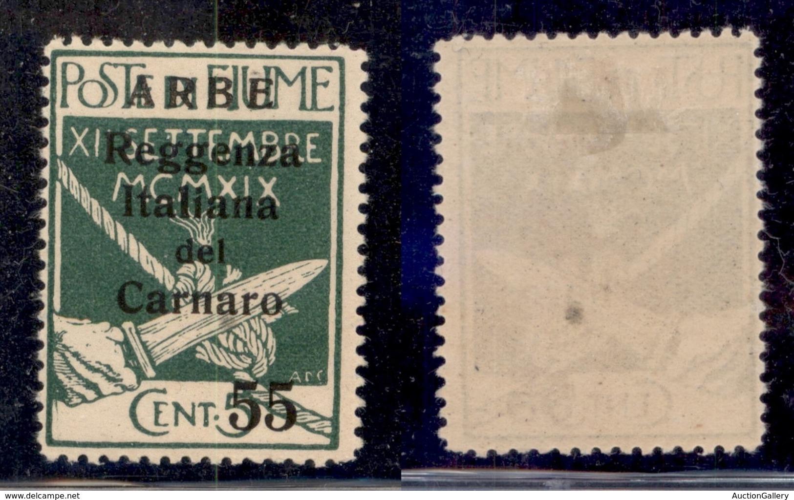 Occupazioni I Guerra Mondiale - Arbe - 1920 - 55 Cent Reggenza (10) - Gomma Originale (120) - Timbres