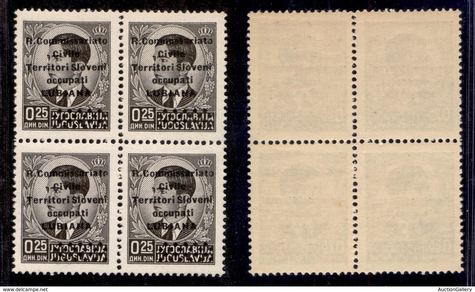 Occupazioni II Guerra Mondiale - Lubiana - 1941 - 0,25 Din (18) - Quartina - Gomma Integra (40) - Timbres