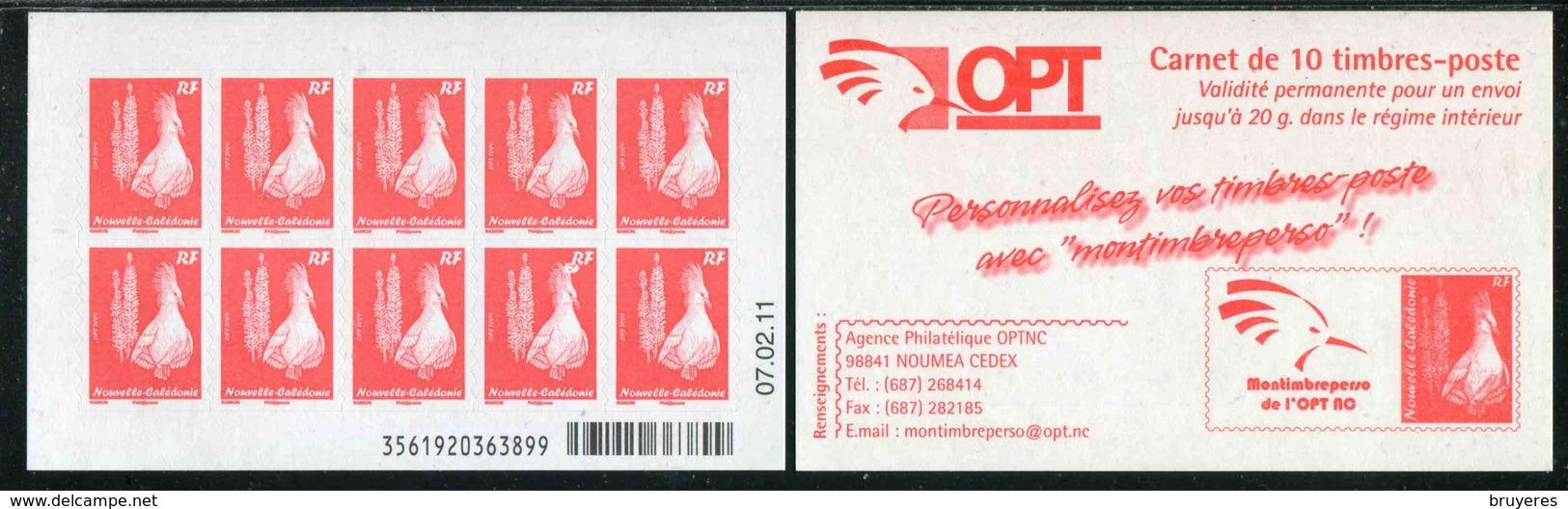 """CARNET** De 2010 De 10 TIMBRES """"Cagou Et Pins Colonnaires, Rouge Type Ramon, Phil@poste """" Avec Date 07.02.11 - Markenheftchen"""
