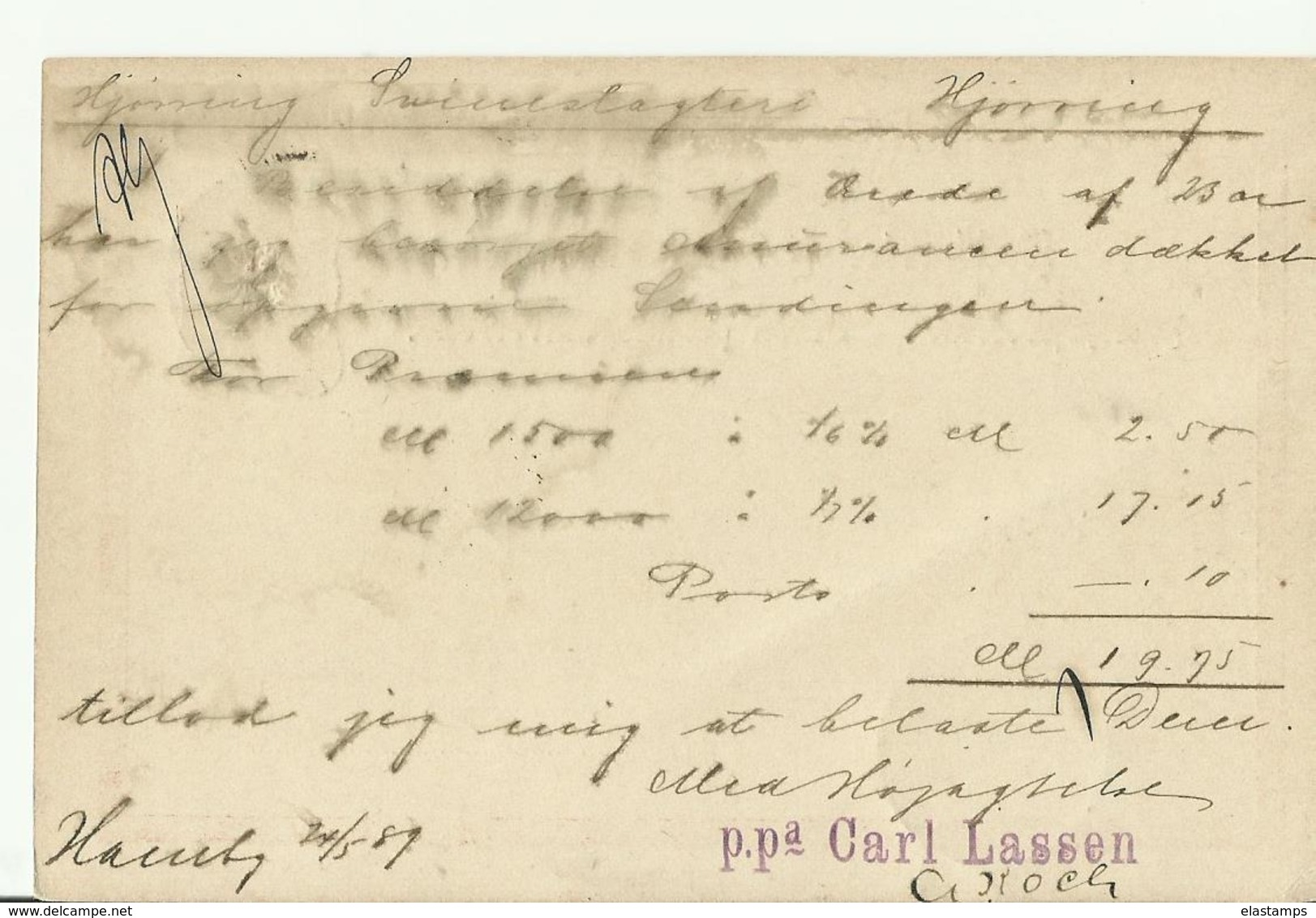 DR GS 1889 Hamburg Nach Jutland Hjorring - Stamped Stationery
