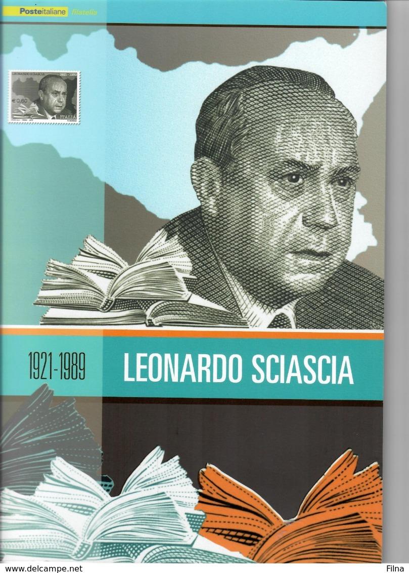 ITALIA 2010 - FOLDER  LEONARDO SCIASCIA   SENZA SPESE POSTALI - 6. 1946-.. Republic
