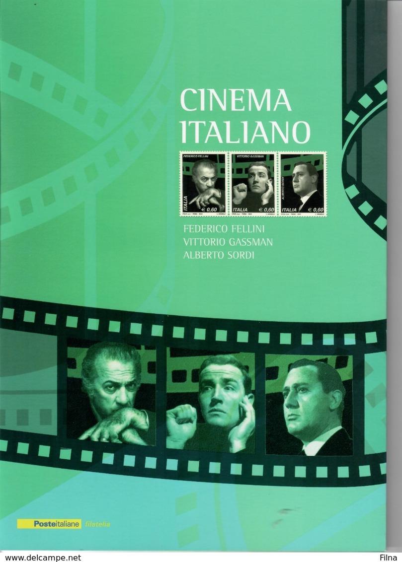 ITALIA 2010 - FOLDER  CINEMA ITALIANO - FELLINI, GASSMAN, SORDI -  SENZA SPESE POSTALI - 6. 1946-.. Republic