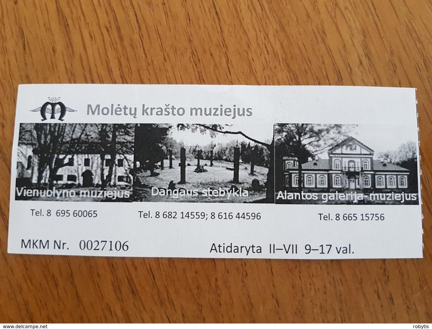 Lithuania Litauen Ticket Moletai Land Museum 2019 - Tickets - Entradas
