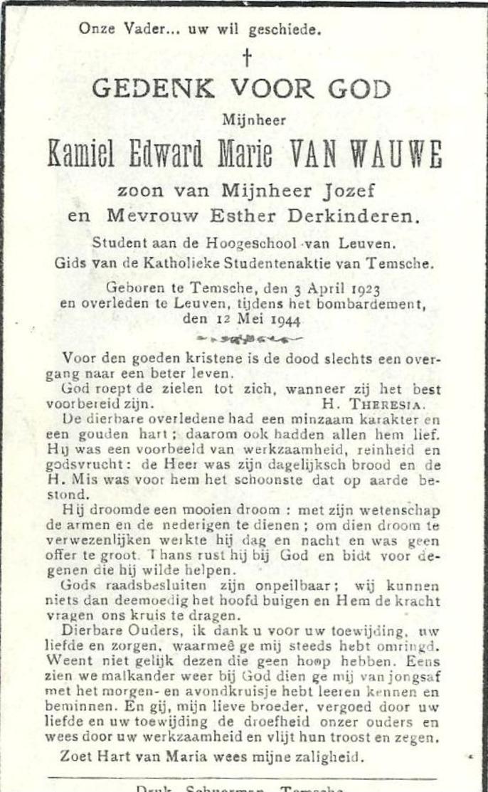 Doodsprentje Van Kamiel VAN WAUWE- ° TEMSE 1923- * LEUVEN- Bombardement Van 12 Mei 1944- Student - Religion & Esotérisme