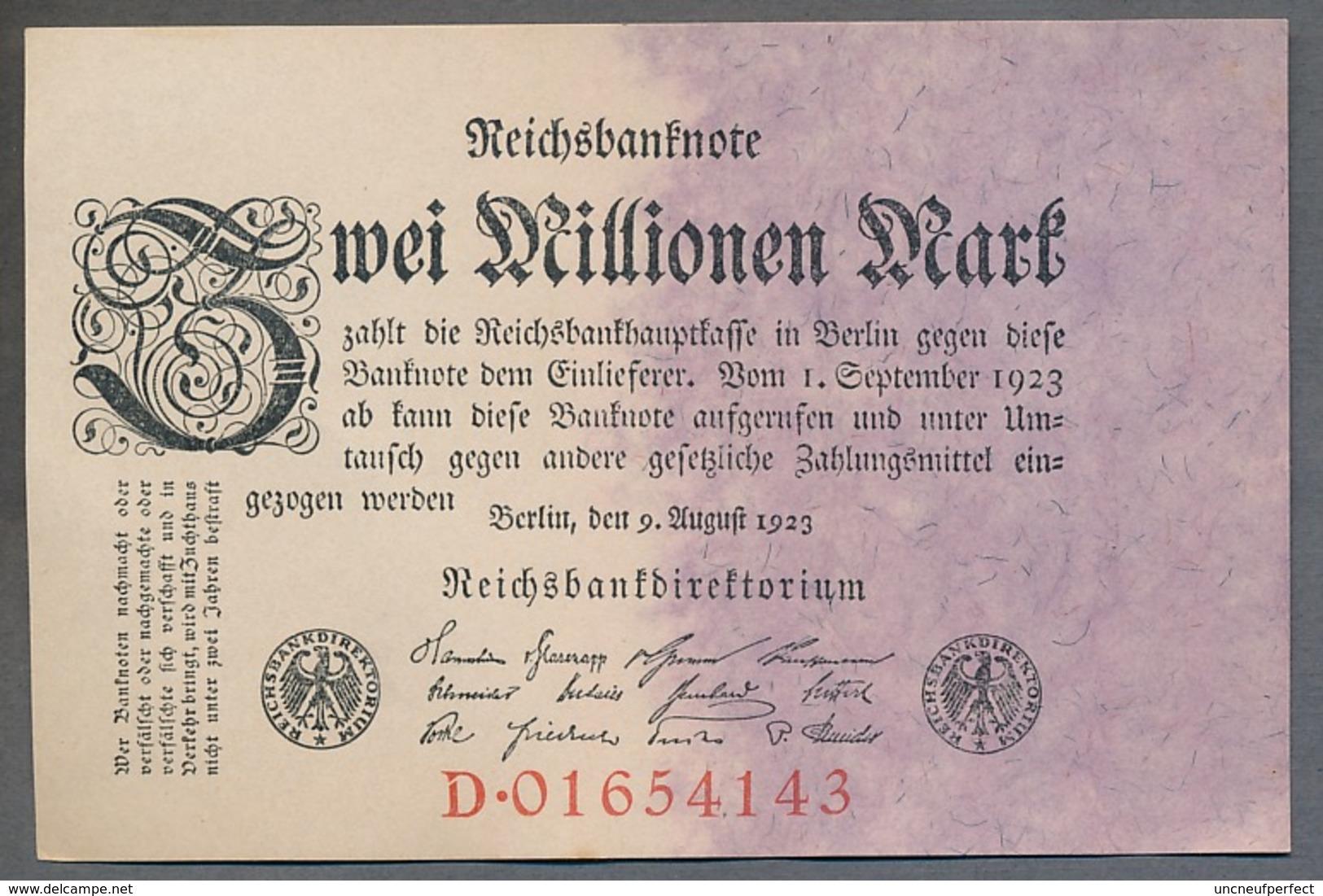 Pick104 Ro103a DEU-115a. 2 Million Mark 1923 NEUF - [ 3] 1918-1933 : Repubblica  Di Weimar