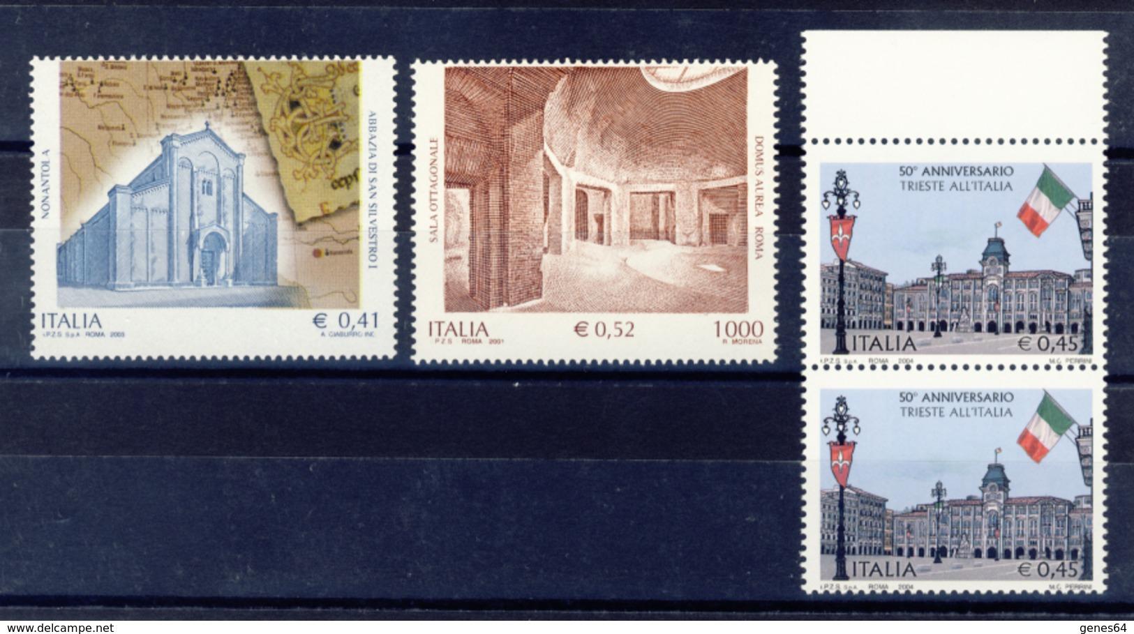 Lotto Di 3 Varieta' Con Dentellatura Spostata A Filo Di Immagini E Scritte - Nuovi MNH**- 4 Immagini - 6. 1946-.. Republic