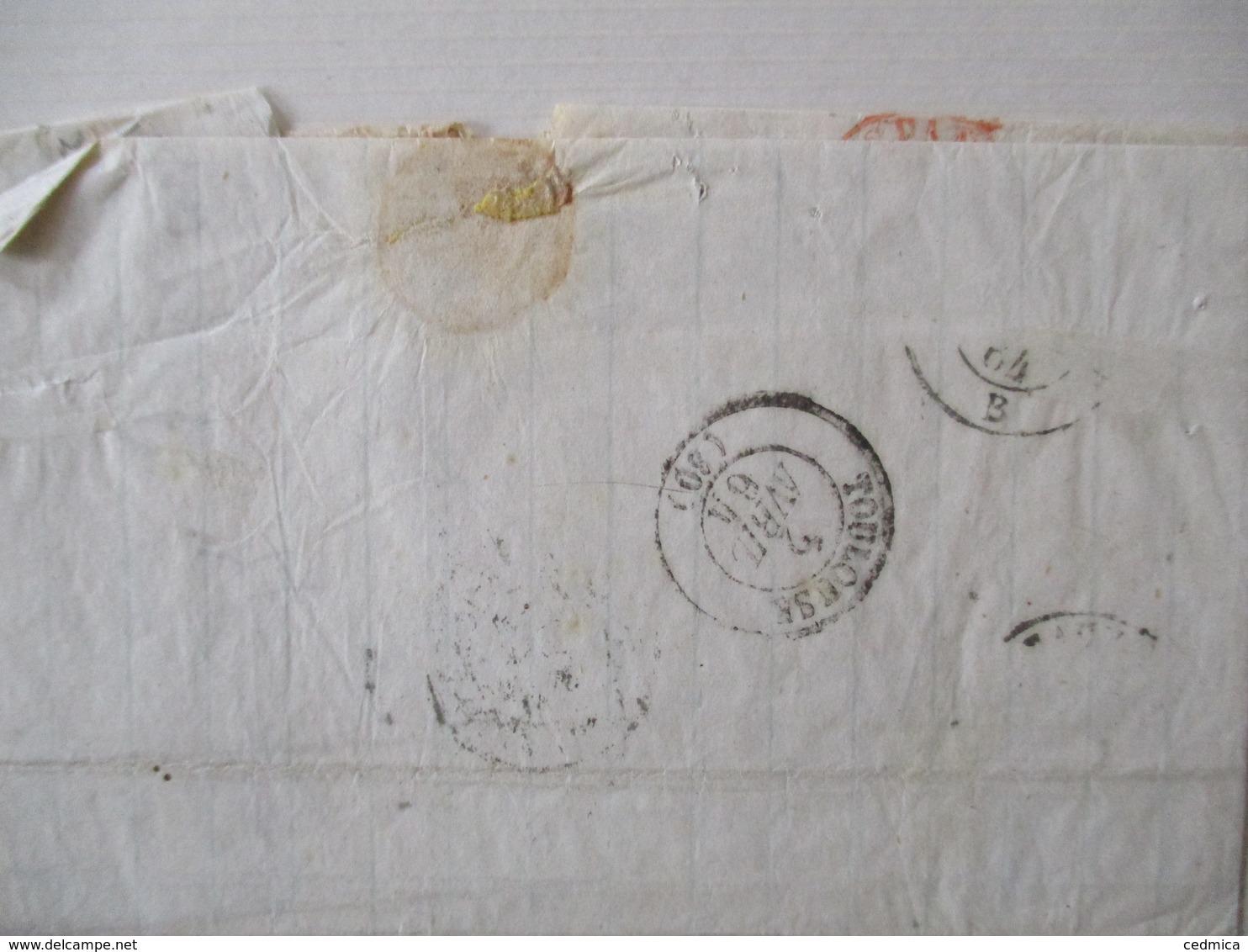 ESP. ST-JEAN DE LUZ 1 AVRIL 64  TOULOUSE 5 AVRIL 64 ESPANA CACHET ROUGE 1 AVRIL 5c TIMBRE CORREOS 12 Ctos 1864 - 1849-1876: Période Classique