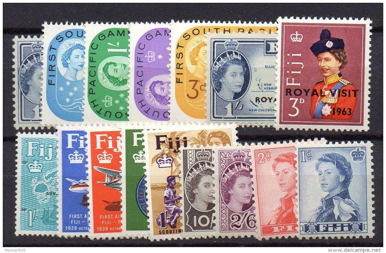 FIDJI ( POSTE ) : LOT  DE  TIMBRES  NEUFS  AVEC  TRACE  DE  CHARNIERE . - Fidji (...-1970)