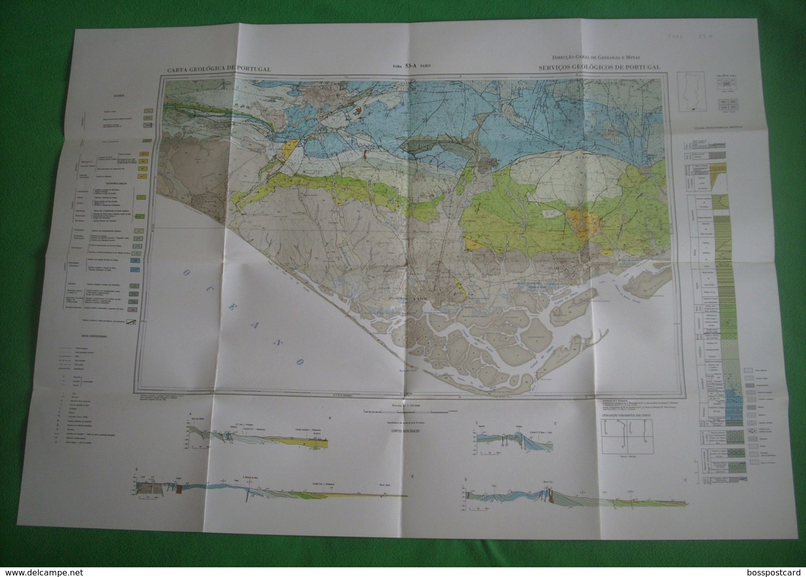 Faro - Carta Geológica De Portugal + Mapa - Geographical Maps