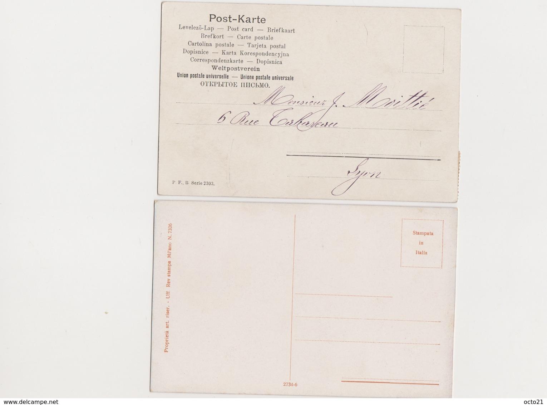 2 Cartes Fantaisie  Signées B.Cascetta / Couple , Baiser Sur La Joue Et Sur Le Front - Autres Illustrateurs