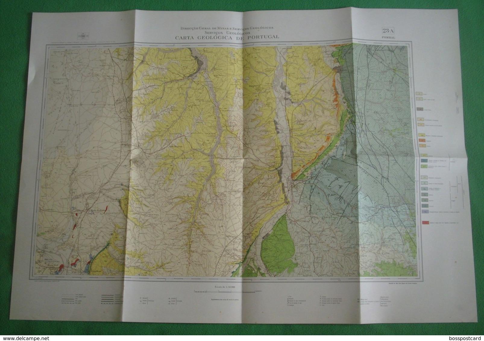 Pombal - Carta Geológica De Portugal + Mapa. Leiria. - Geographical Maps