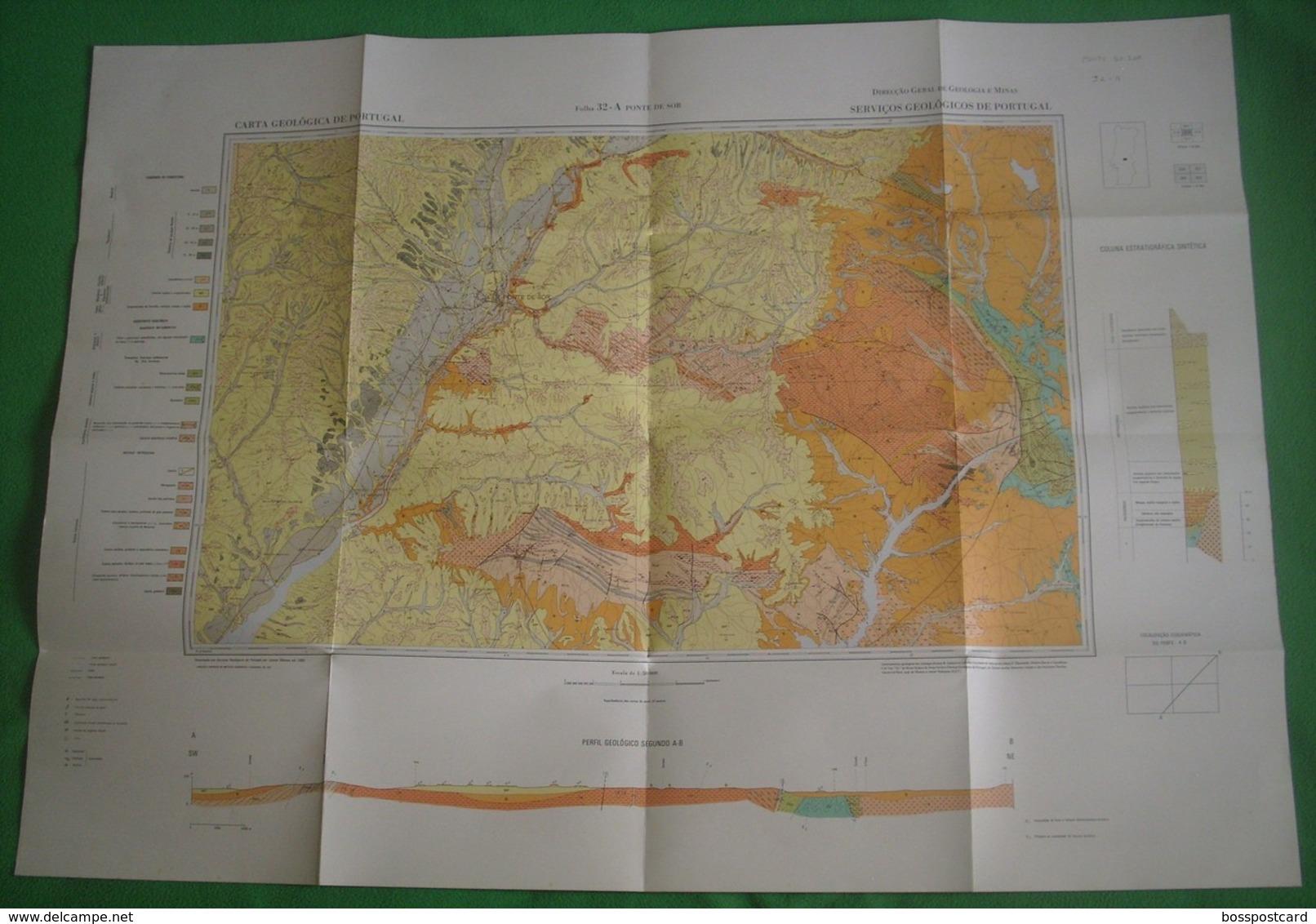 Ponte De Sor - Carta Geológica De Portugal + Mapa. Portalegre. - Geographical Maps