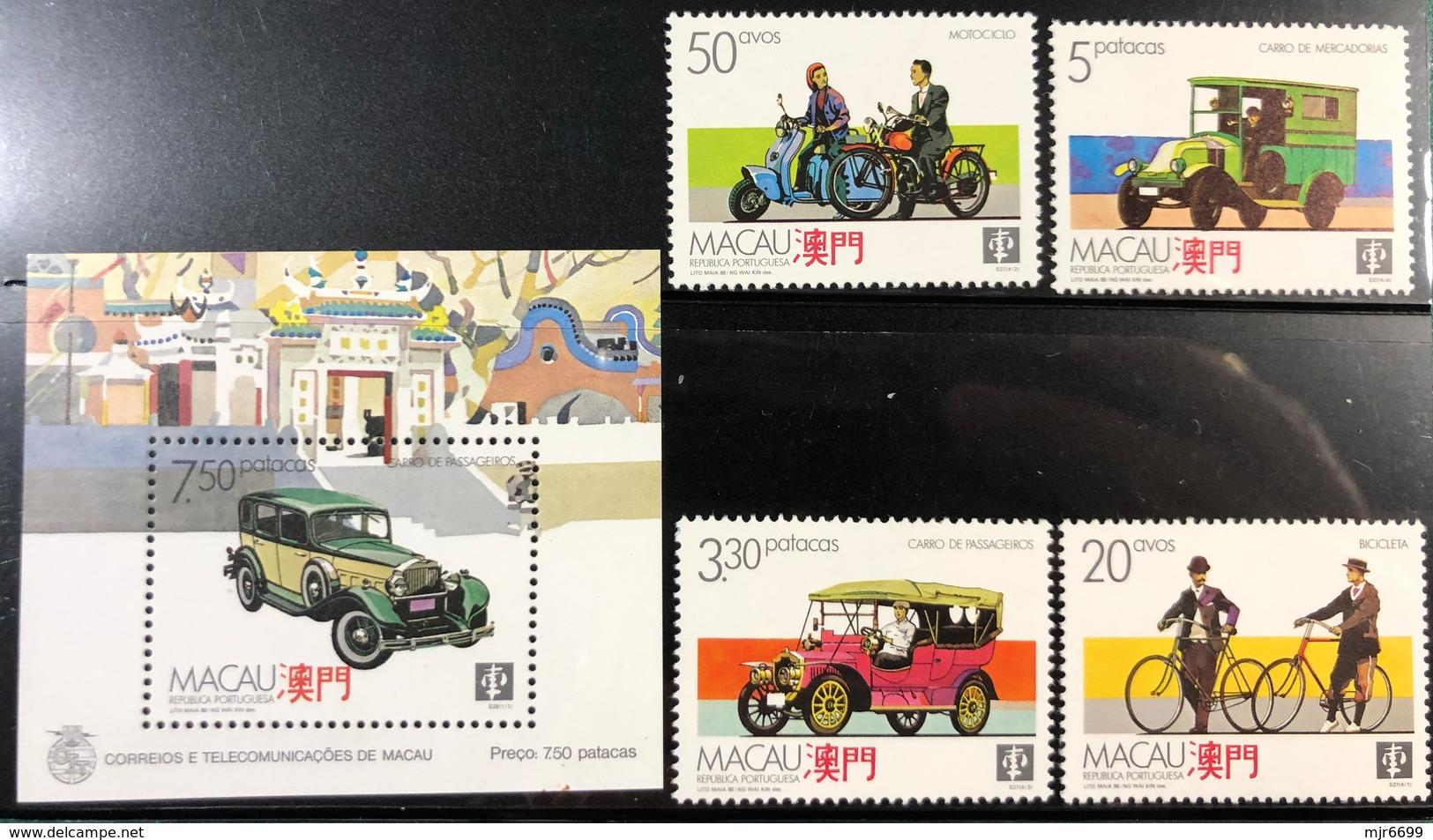 MACAU 1988 MEANS OF LAND TRANSPORT SET OF 4 + SOUVENIR SHEET - Blocks & Kleinbögen