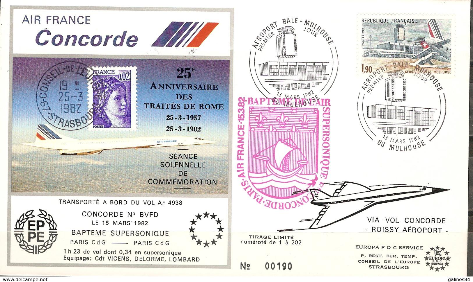 FDC Enveloppe Premier Jour Aéroport Bale-Mulhouse CONCORDE ( MULHOUSE  )  1982 Timbre Yvert 2203 - FDC