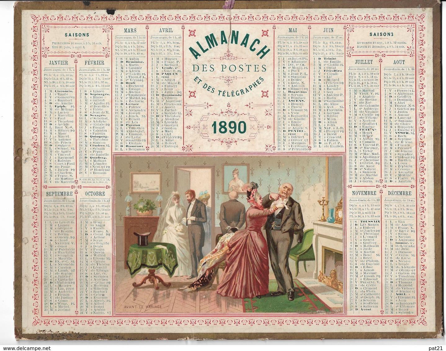 """Almanach Des Postes Et Télégraphes  1890 """"avant Le Mariage"""" Petits Défauts Bien Visibles Sur Scan   Avec Carte Deux Sevr - Formato Grande : ...-1900"""