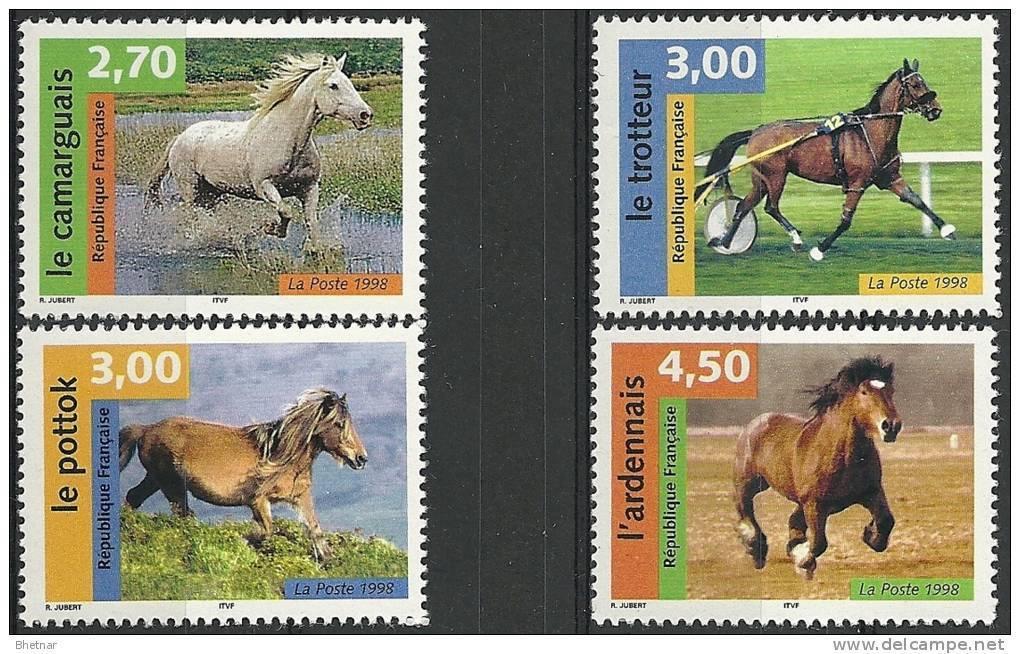 """FR YT 3182 à 3185 """" Nature De France, Chevaux """" 1998 Neuf** - France"""