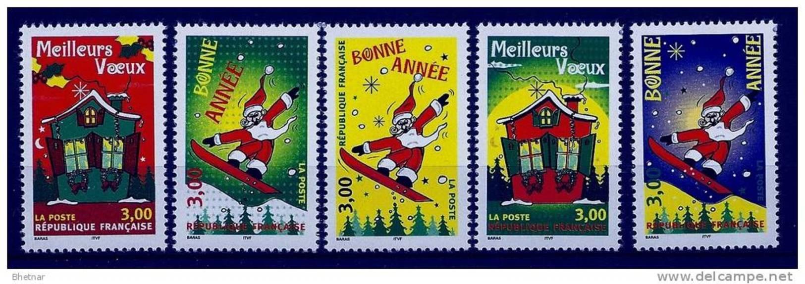 """FR YT 3200 à 3204  """" Meilleurs Voeux """" 1998 Neuf** - France"""