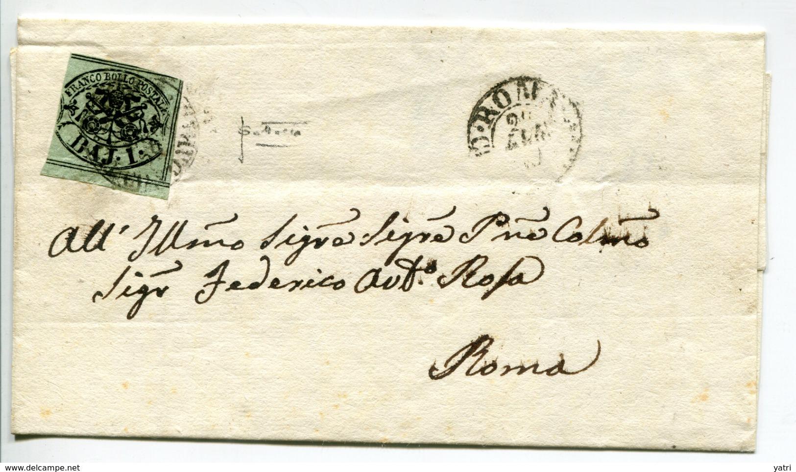 Pontificio (1859) - R1 ROMA CIRCONDARIO Azzurro Nerastro Unico Annullatore Su Sovraccoperta - Stato Pontificio
