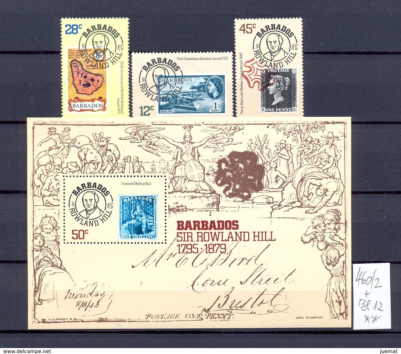 BARBADOS - 460/2 + Bl. 12  Rowland Hill   Kpl. Postfr.  MNH - Barbades (1966-...)