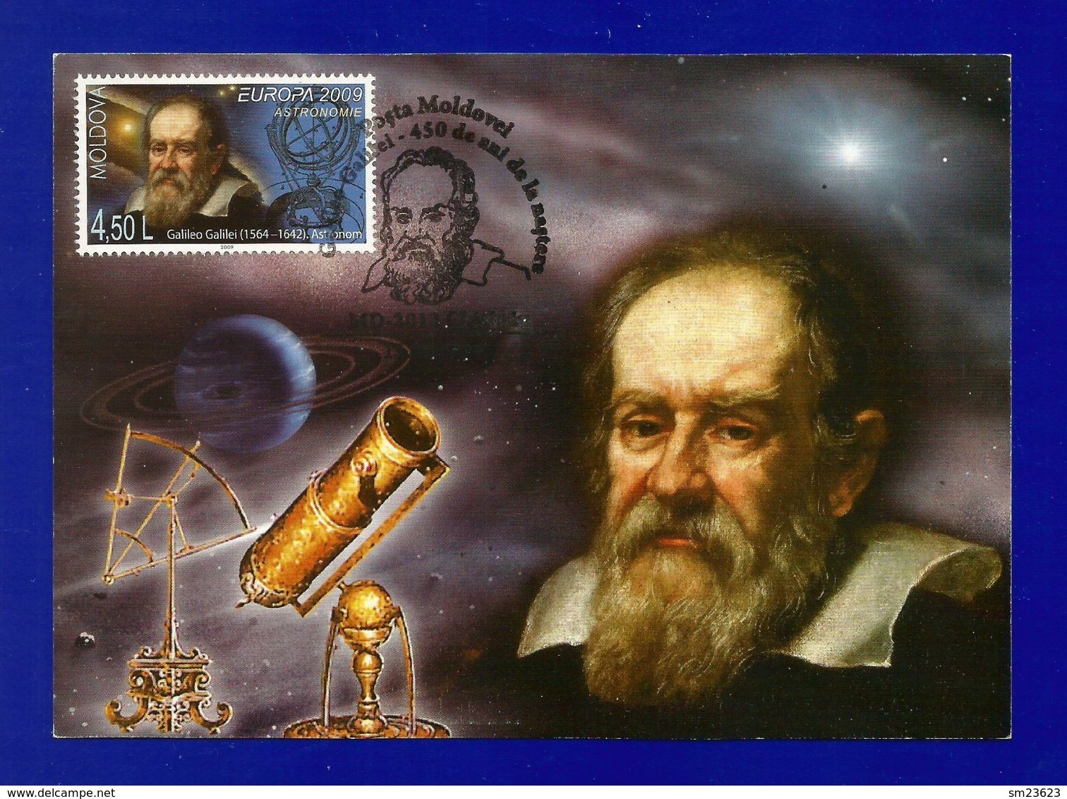 Moldovei 2009  Mi.Nr. 651 , EUROPA - CEPT  Astronomie Galileo Galilei - Maximum Karte - Erstausgabe Posta Moldovel - Europa-CEPT