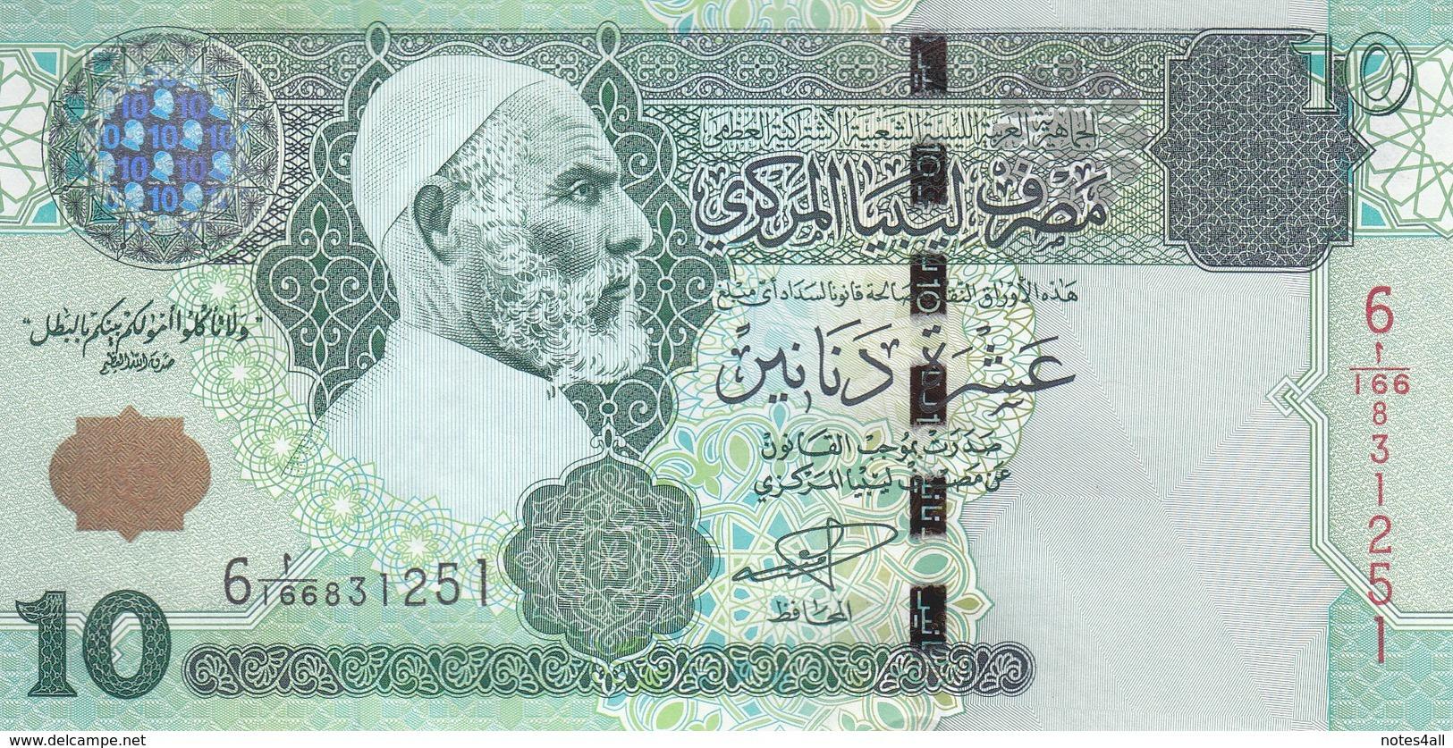 LIBYA 10 DINARS 2004 P-70a SIG/ 9 MUNEISI UNC */* - Libië