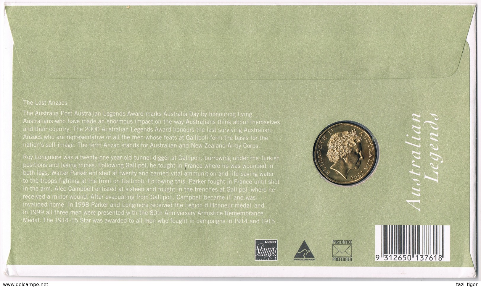 The Last ANZACs  • 2000 • Stamp And $1 Coin Cover - Australia