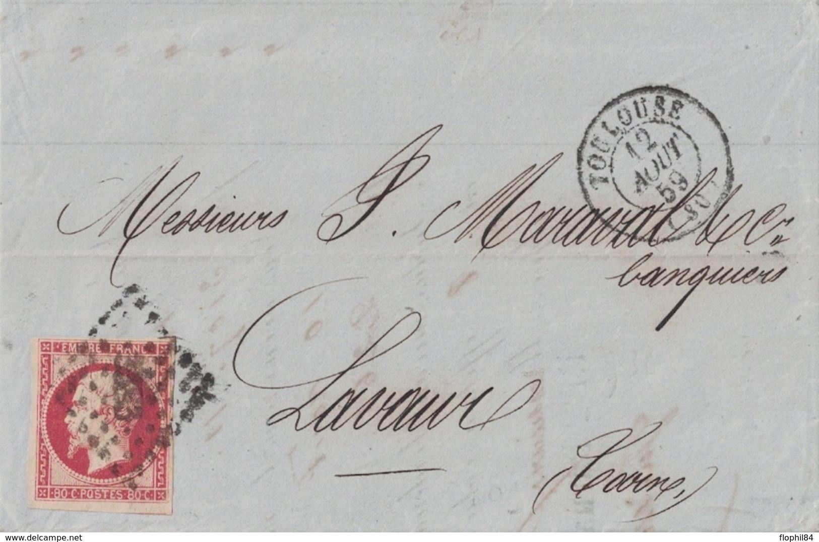 HAUTE GARONNE - TOULOUSE - EMPIRE - N°17A OBLITERATION PC - ENTETE CAISSE INDUSTRIELLE DARNAUD & CIE - AVEC TEXTE ET SIG - 1849-1876: Période Classique