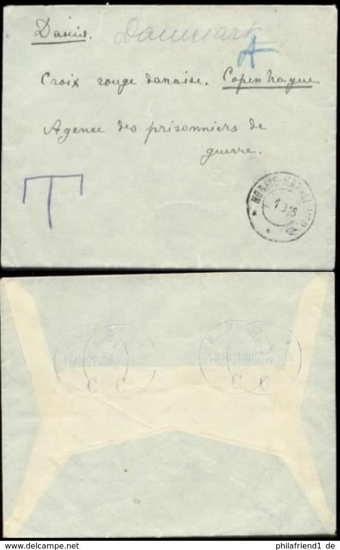 13368 Russland Kriegsgefangenen Post Brief Rotes Kreuz Nachgebühr Taxe - Kopenhagen 1915 , Ohne Inhalt. - 1857-1916 Empire