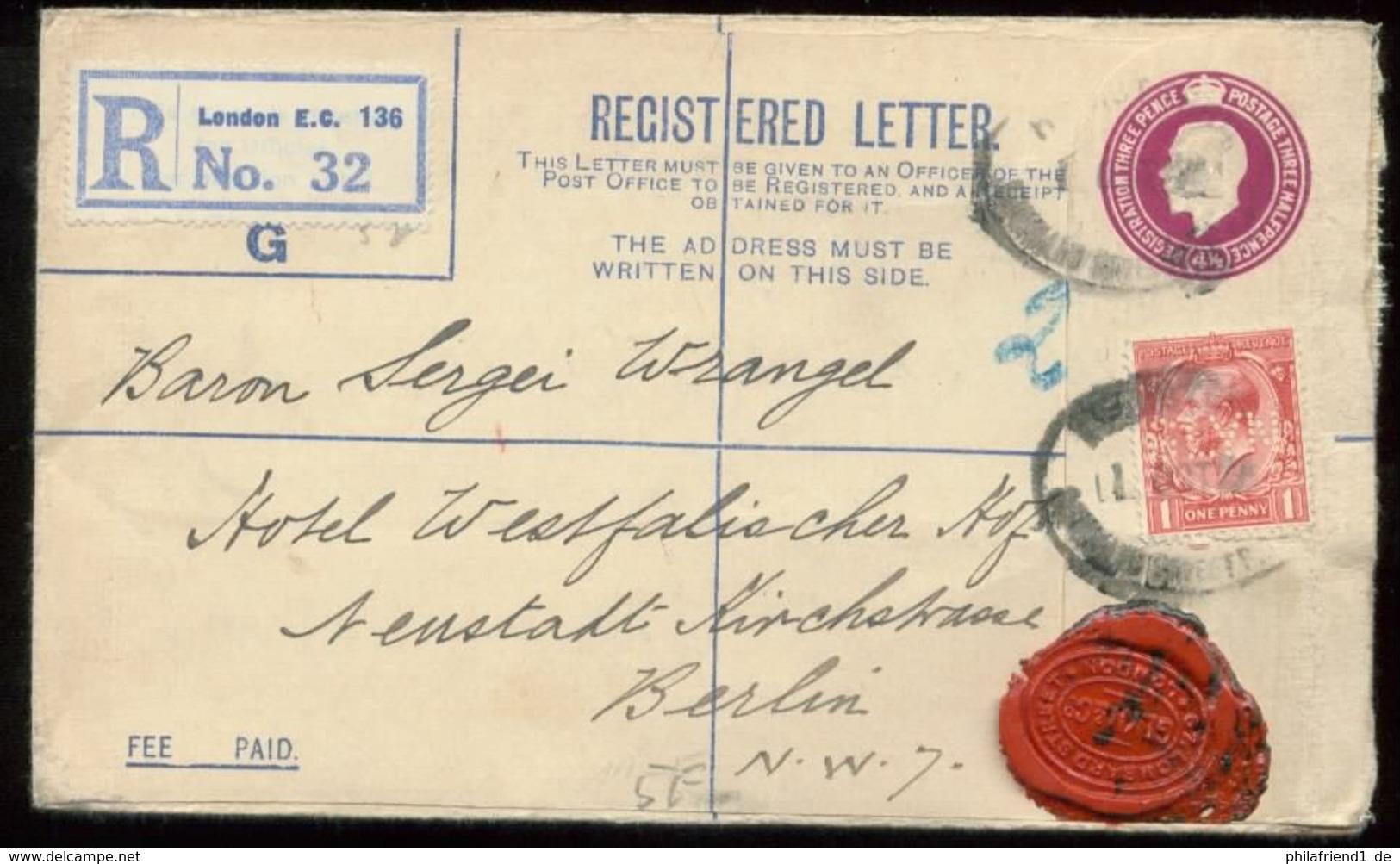 18966 England R - GS Brief + Marke Mit Perfin Lochung London  - Berlin 1926 , Bedarfserhaltung. - Perfins