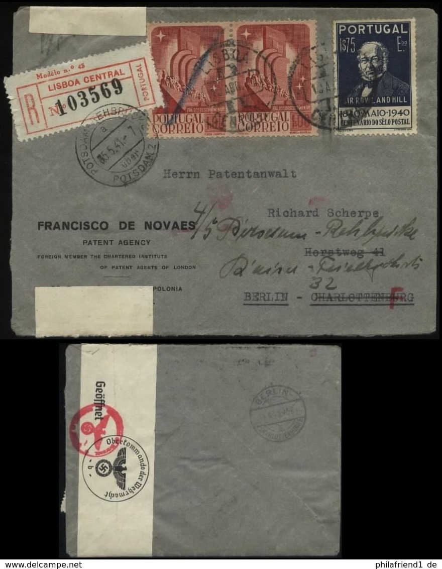 19997 Portugal R - Brief + OKW Zensur Lissabon - Berlin 1941 , Bedarfserhaltung. - 1910-... Republic