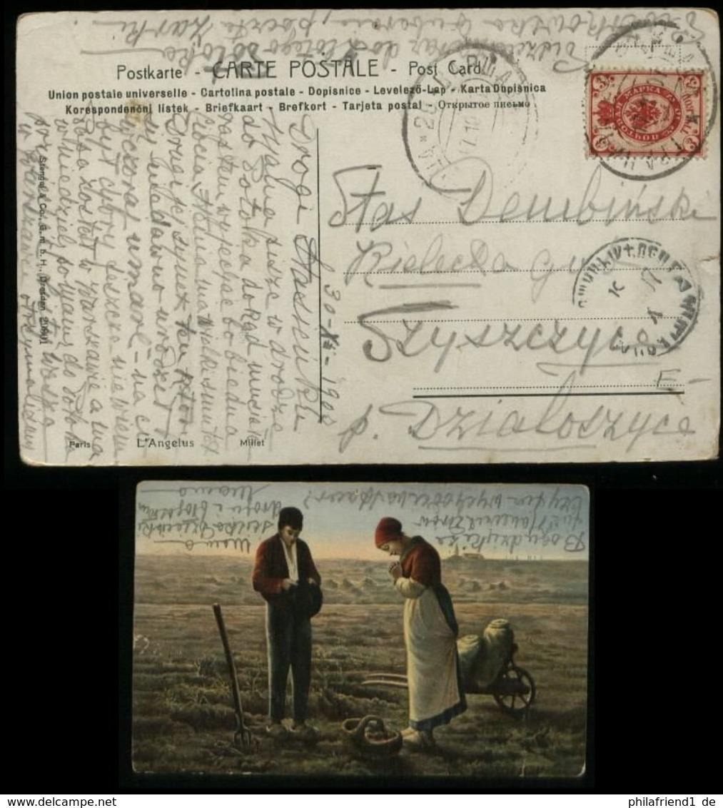 S4881 Russland Polen Postkarte , AK Erntedank: Gebraucht Warschau 1907 , Bedarfserhaltung. - Covers & Documents