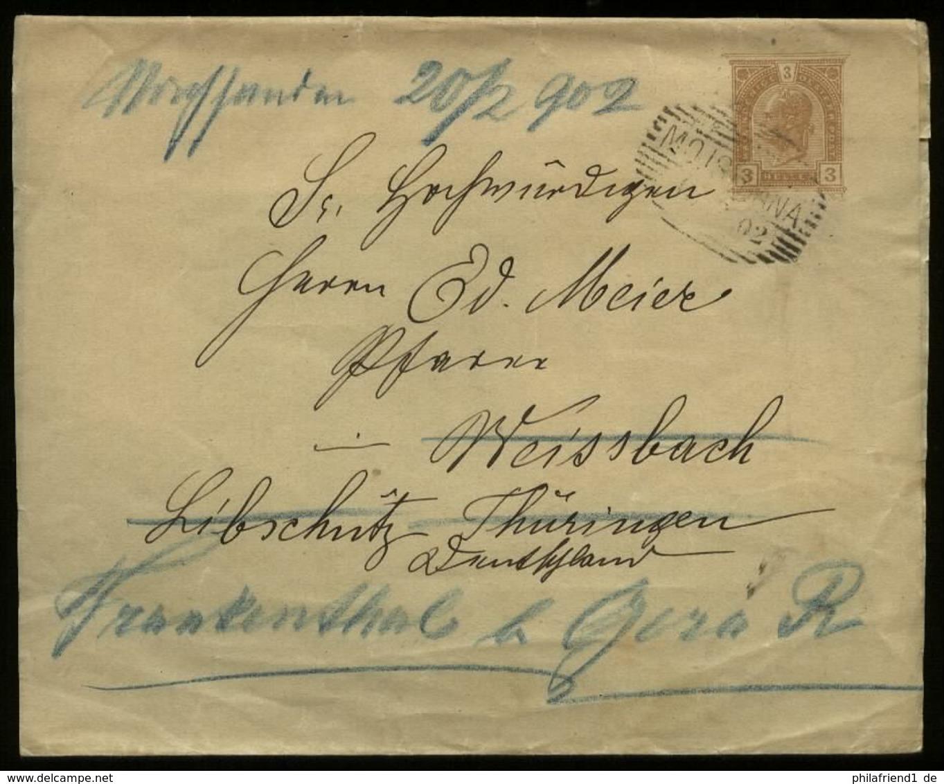 S7089 - Österreich GS Streifband: Gebraucht Moisiana - Libschütz 1902 , Bedarfserhaltung. - 1850-1918 Empire