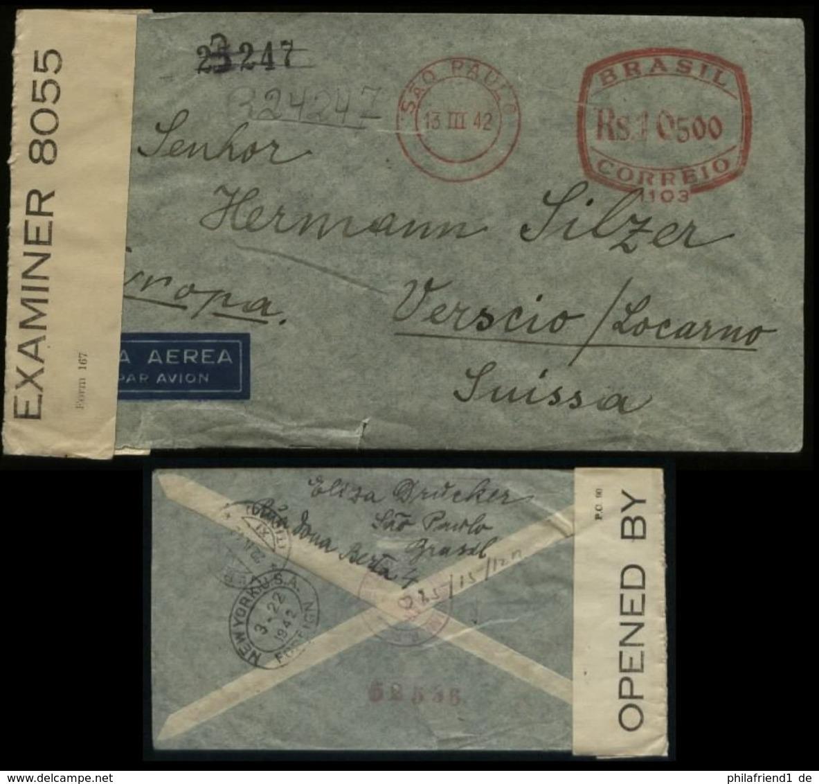S4903 Brasilien Freistempel Luftpost Briefumschlag Mit Zensur: Gebraucht Sao Paulo über New York- Verscio Schweiz 1942 - Brazil