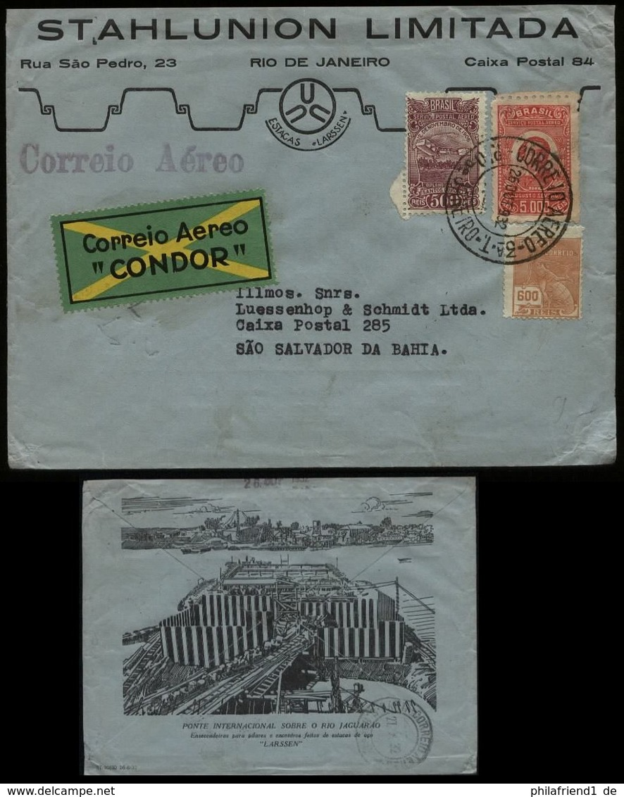 S6345 - Brasilien Luftpost Condor Briefumschlag Mit Firmenbild: Gebraucht Rio De Janeiro - San Salvador Da Bahia 1932 - Airmail