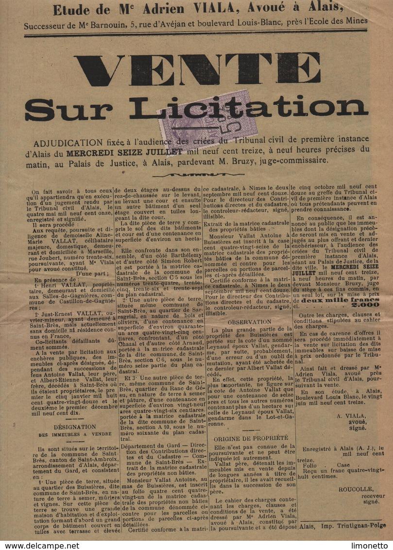 Timbre AFFICHES Sur Document -1913- Affiche De Vente Sur Licitation - 5 C.& 2/10  Violet -dim 35 X 26 Cms  (lot 3 ) - Fiscale Zegels